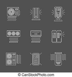 White flat line air purification vector icons