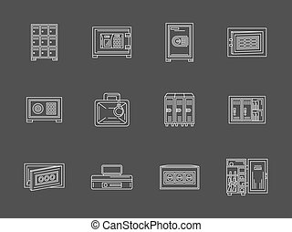 White flat line metal locker and safe vector icons - Metal...