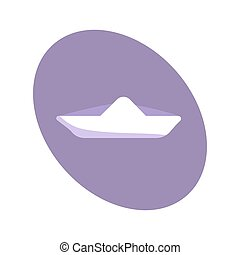 White flat paper boat icon on a purple oval background.