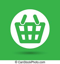 white flat shopping basket pictogram on a green background