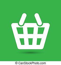white flat shopping basket pictogram on the green background