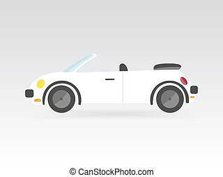 white flat style isolated convertible race sport car vector illustration transport auto icon
