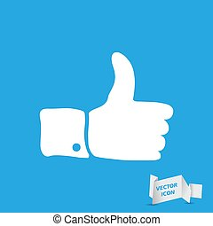 white flat thumbs up sign on blue background