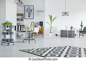 White flat with dining area