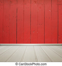 White floor with red wall wooden interior room texture,background.