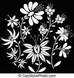 White  Floral folk pattern