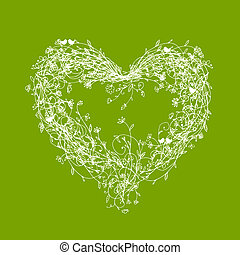 White floral frame, heart shape on green