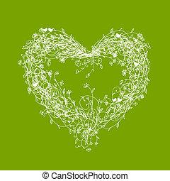 White floral frame, heart shape on green