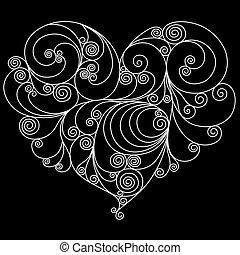 White floral heart outline over white