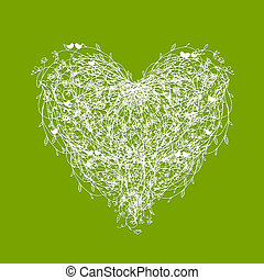 White floral heart shape on green