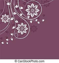 White floral pattern on violet background