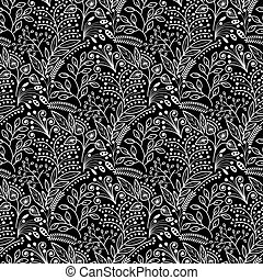 White floral scales seamless pattern on black background