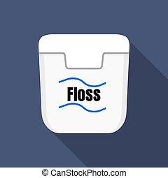 White floss box icon, flat style