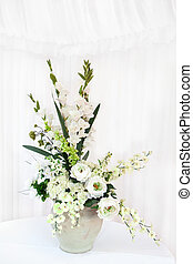 White flower bouquet in a vase