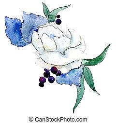 White flower. Isolated flower illustration element. Background illustration set. Watercolour drawing aquarelle bouquet.