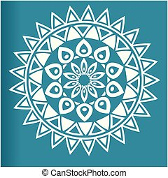 White Flower Mandala Blue Background Vector Image