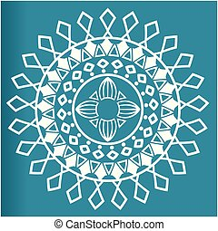 White Flower Mandala Blue Background Vector Image