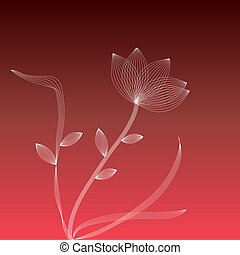 White flower on a red background - Wire frame white flower