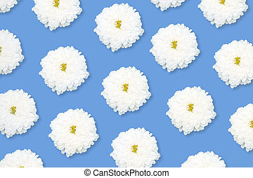 White flower pattern on a blue background.