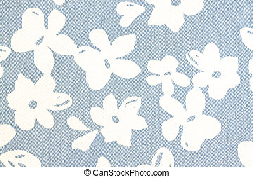 White flower pattern on blue fabric.