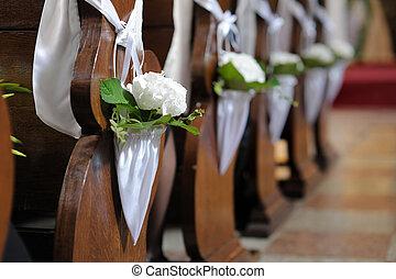 White flower wedding decoration in a church