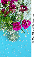 White flowers and fuchsia flowers on blue background.