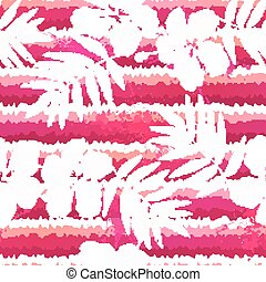 White flowers and grunge pink stripes seamless pattern