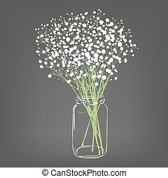 White flowers bouquet. Gypsophila flowers. Transparent clear...