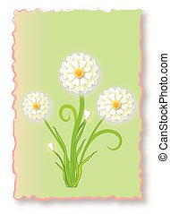 White flowers in a green abstract frame.