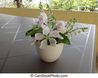 White Flowers in a Vase View from Above
