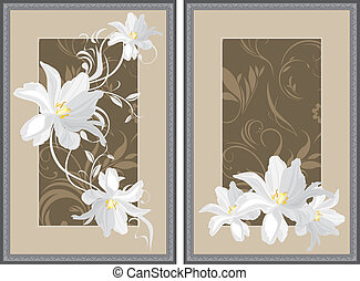 White flowers in decorative frame - White flowers in...