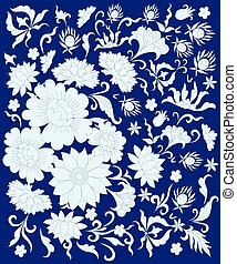 white flowers in the eastern style on a blue background