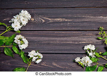 White flowers of jasmine on wooden background. Arabian jasmine flowers