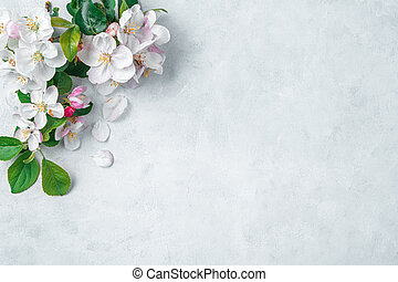 White flowers on a gray background with space to copy.