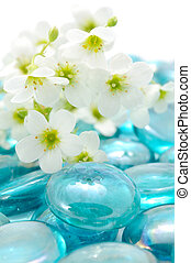 White Flowers on Blue Glass Stones
