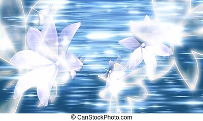 White Flowers on Blue Streaked Background