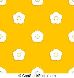 White flowers on orange background seamless pattern.