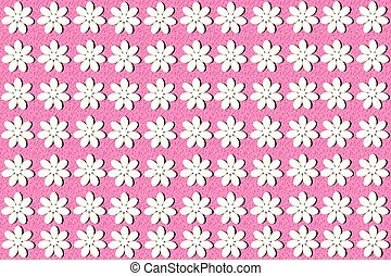 White flowers on pink background seamless pattern
