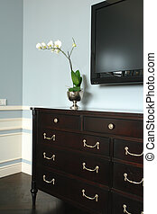 white flowers - white flowers on the chest of drawers...