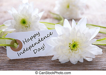 White Flowers with Happy Independence Day