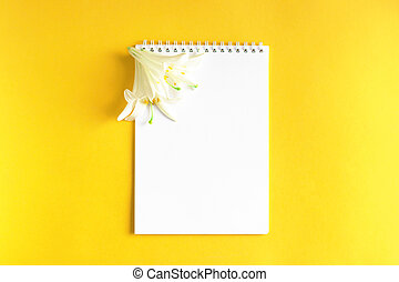 White flowers with Notepad on yellow background.
