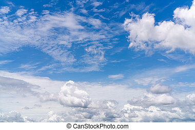 White fluffy clouds on blue sky. Soft touch feeling like cotton. White puffy clouds cape with space for text. Beauty in nature. Close-up white cumulus clouds texture background. Sky on sunny day.