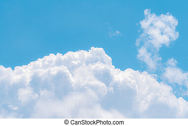 White fluffy clouds on blue sky. Soft touch feeling like cotton. White puffy cloudscape. Beauty in nature. Close-up white cumulus clouds texture background. Sky on sunny day. Pure white clouds.