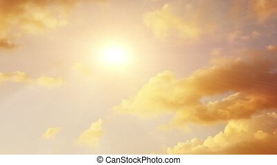 white fluffy clouds over blue sky with a sun