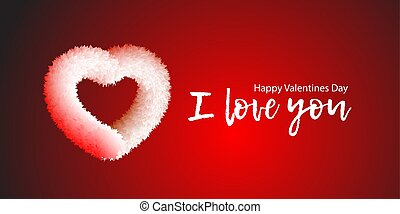 White fluffy fur soft very beautiful prickly but tender heart on a red background with the words I love you Happy Valentine's Day. Vector eps