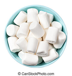 White Fluffy white marshmallows in blue bowl isolated on...