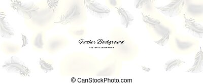 White Flying Bird Feathers Pattern on Light Background