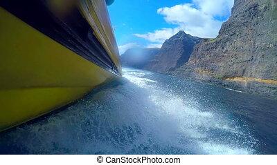 White foam behind the boat. Tenerife. Canary Islands. Spain.