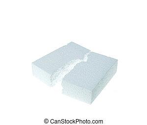 White foamed polystyrene isolated on white background - ...