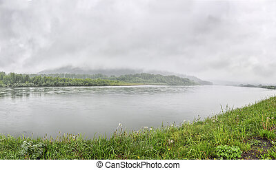 White fog over the  river in summer morning - panoramic view